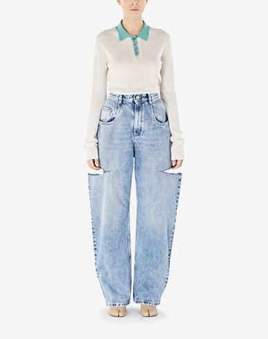 TROUSERS Denim jeans with slash details Blue