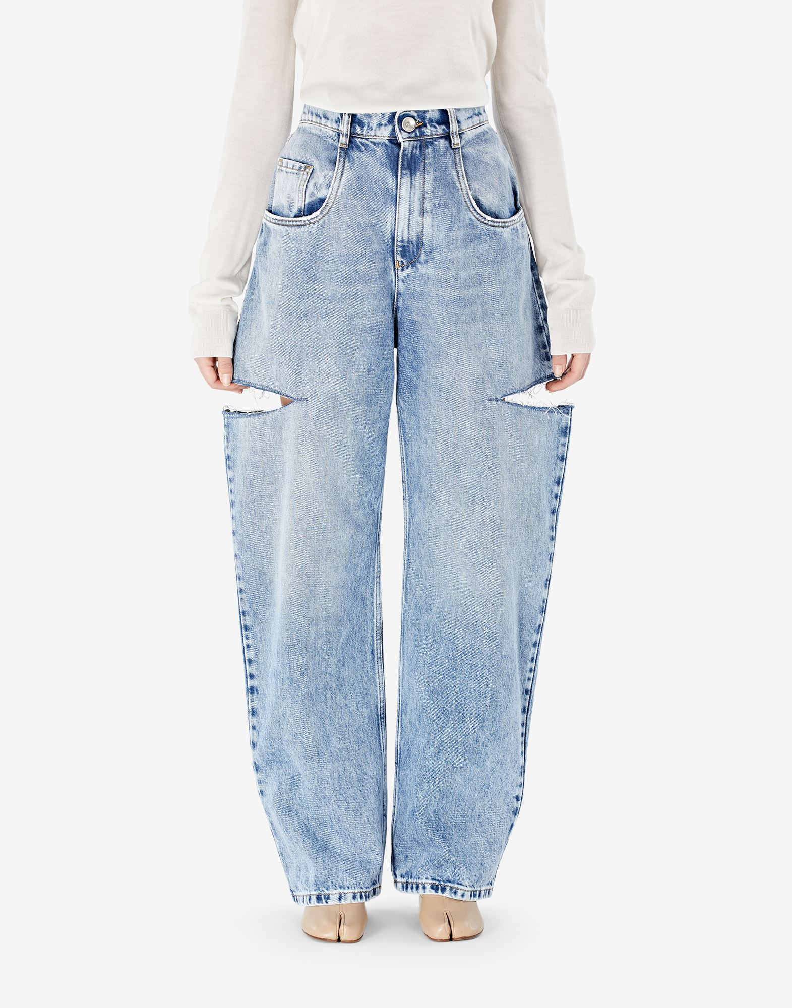 MAISON MARGIELA Denim jeans with slash details Jeans Woman a