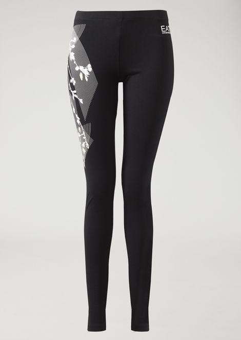 Leggings in stretch jersey with logo and floral print