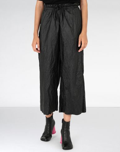MM6 MAISON MARGIELA Casual pants Woman Crinkled wide-leg cropped pants f