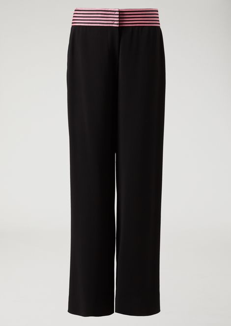 Palazzo pants with two-tone striped band at waist