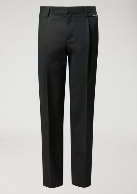 Trousers in compact cotton with zip detail