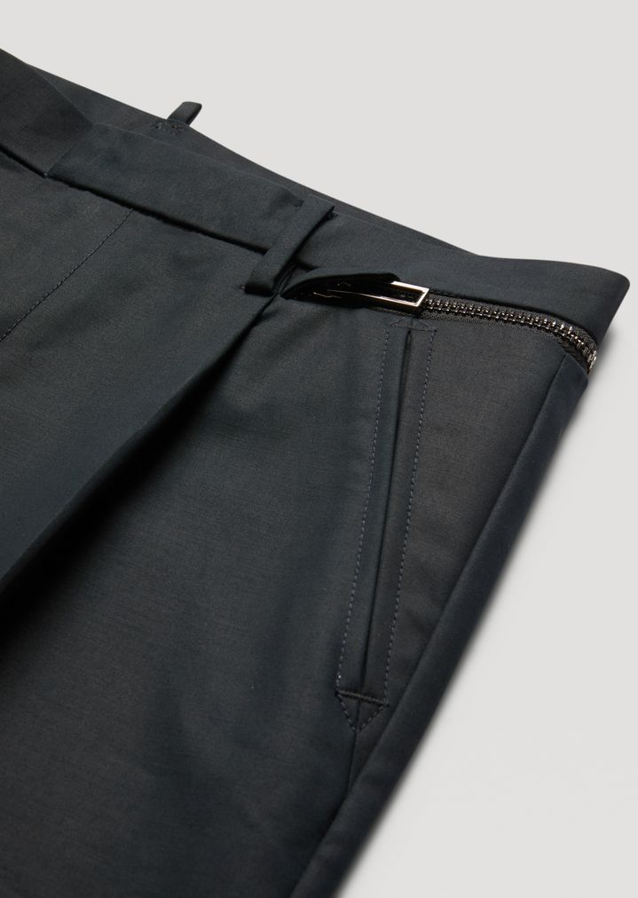 EMPORIO ARMANI Trousers in compact cotton with zip detail Casual Trousers Man b