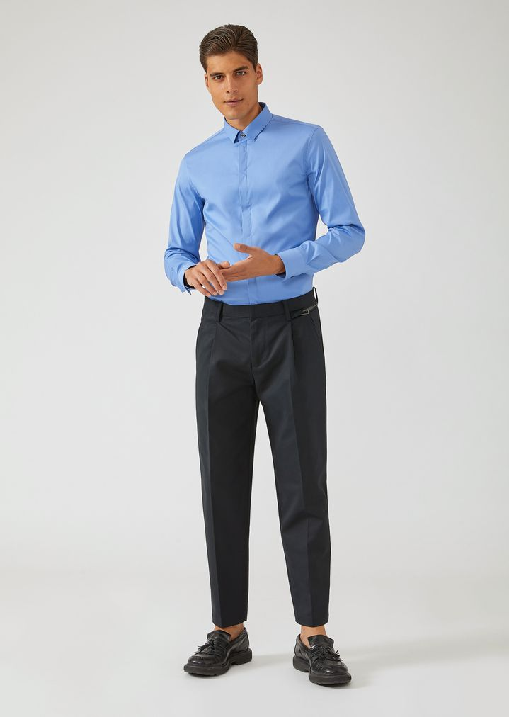 EMPORIO ARMANI Trousers in compact cotton with zip detail Casual Trousers Man d