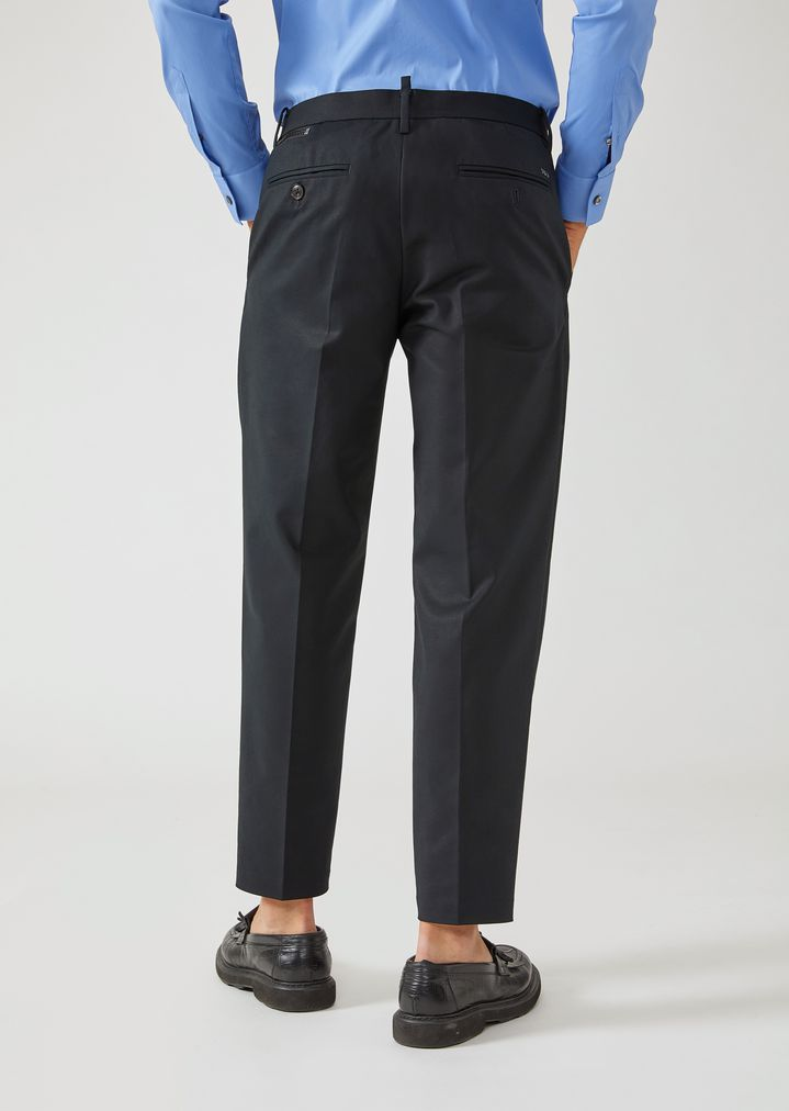 EMPORIO ARMANI Trousers in compact cotton with zip detail Casual Trousers Man e