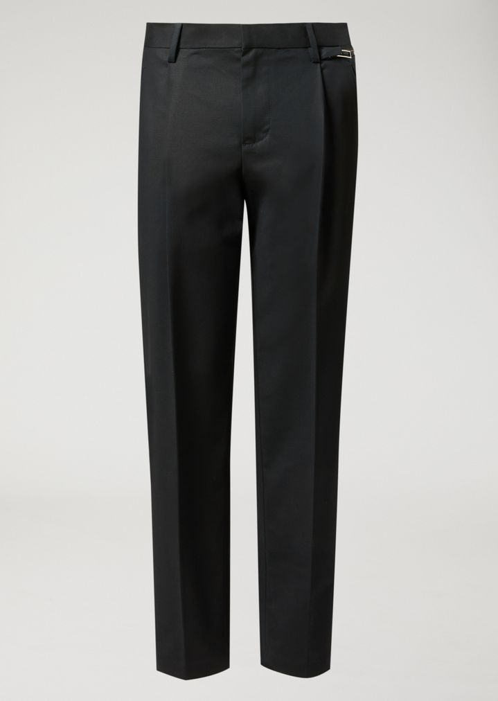 EMPORIO ARMANI Trousers in compact cotton with zip detail Casual Trousers Man f