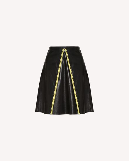 Leather skirt with Ornamental Frame embroidery