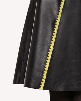 REDValentino Leather skirt with Ornamental Frame embroidery