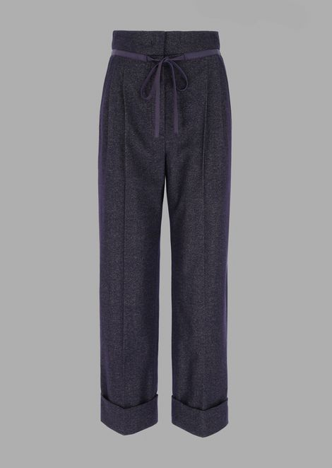 Cropped wool trousers with a salt and pepper effect and belt detail