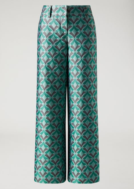 Palazzo pants in jacquard fabric with an optical design