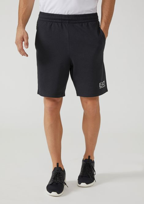 Baby French terry athletic shorts with EA7 logo
