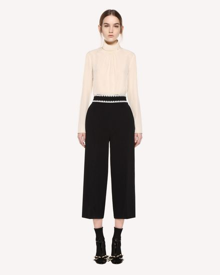 Stretch Frisottino Cropped Pants with Ornamental Frame embroidery