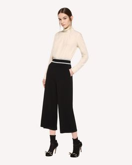 REDValentino Stretch Frisottino Cropped Pants with Ornamental Frame embroidery