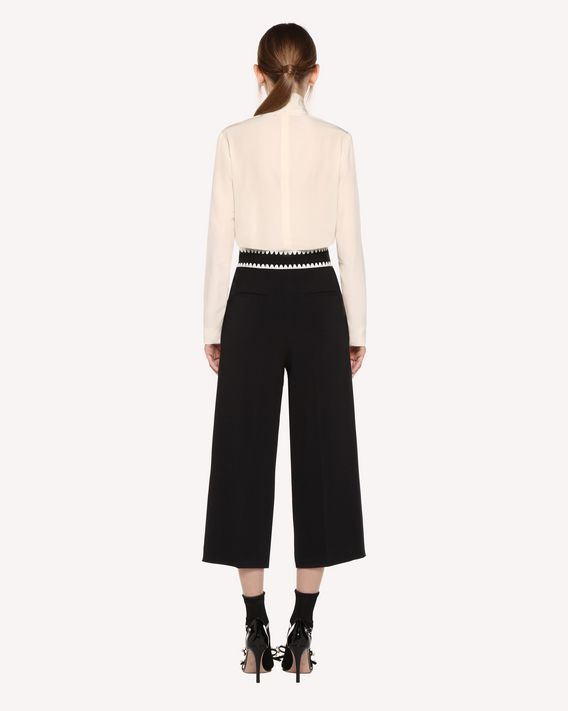 REDValentino Stretch Frisottino cropped trousers with Ornamental Frame embroidery