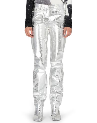 MM6 MAISON MARGIELA Trousers Woman Silver coated denim pants f