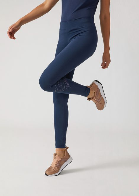 Leggings in stretch jersey with studded logo