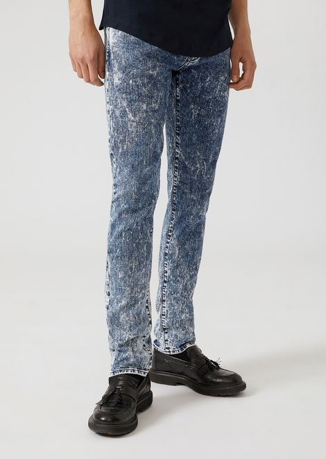 J10 extra-slim-fit comfort denim jeans with marble effect