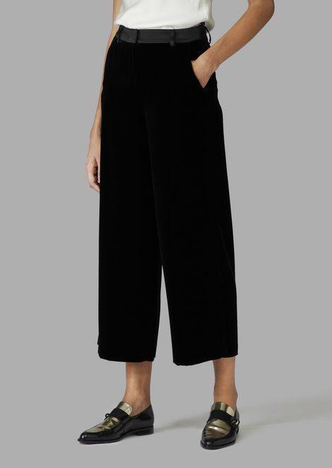 Cropped velvet trousers with satin detail