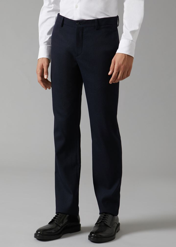 GIORGIO ARMANI Classic stretch virgin wool trousers Classic Pants Man f