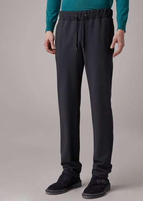 Oversized trousers in unified seersucker stretch wool fabric