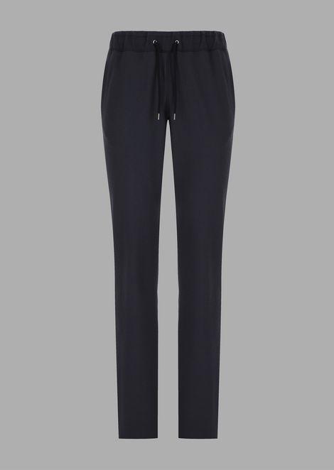 Oversized trousers in unified seersucker stretch wool fabric