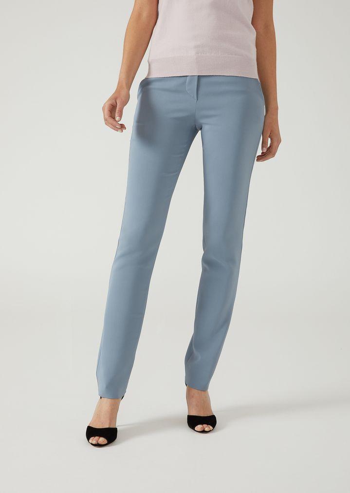 133603fc32 Stretch fabric cigarette trousers   Woman   Emporio Armani