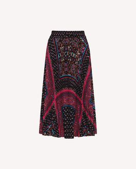 REDValentino Pleated Crêpe de Chine skirt with Forget Me Not print
