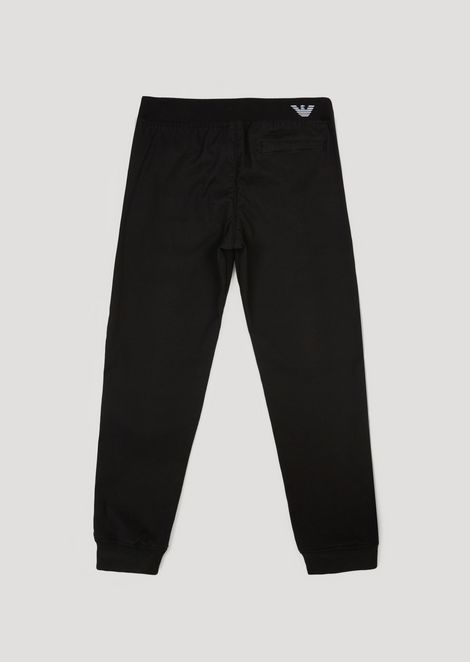 Stretch cotton gabardine trousers with elasticated waistband
