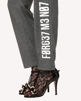 "REDValentino Loose stretch flannel pants with ""Forget Me Not"" print"