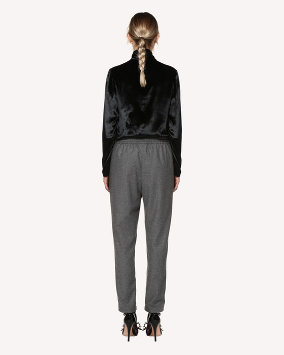 """REDValentino Loose stretch flannel trousers with """"Forget Me Not"""" print"""