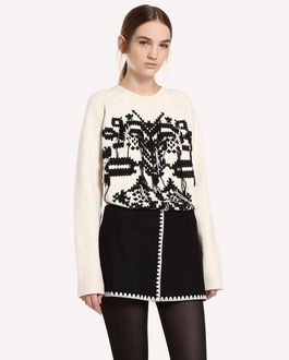 REDValentino Shorts in Wool Cloth with Ornamental Frame embroidery