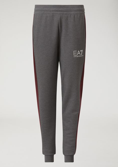 Cotton joggers with side strips and EA7 logo