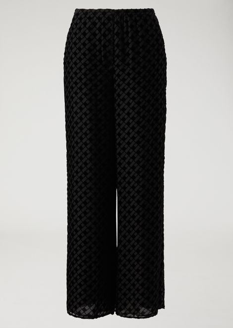 Silk blend palazzo pants with diamond pattern in flocked fabric