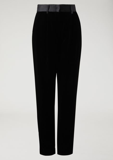 Velvet trousers with satin band