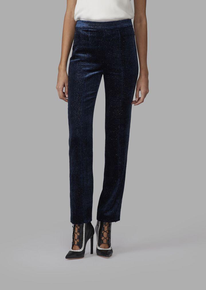 faf82e58 Glittery pincushion-effect velvet straight-leg trousers | Woman | Giorgio  Armani