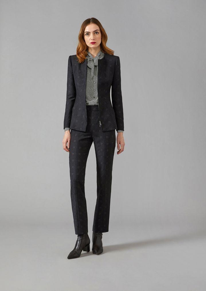 3c0bad004541 Pantalon en laine mélangée à motif tartan   Femme   Giorgio Armani