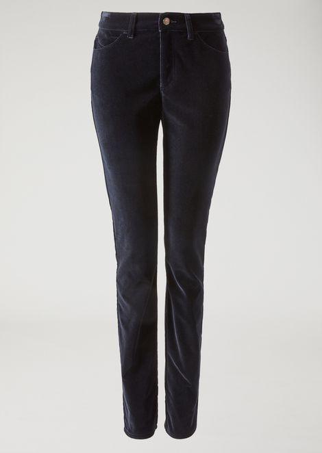 Skinny fit five-pocket velvet trousers