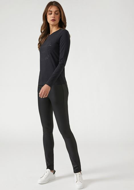 Super skinny trousers in coated fabric