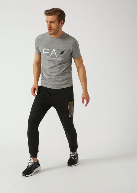 Cotton joggers with EA7 logo