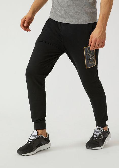 Pantaloni da jogging in cotone con logo EA7