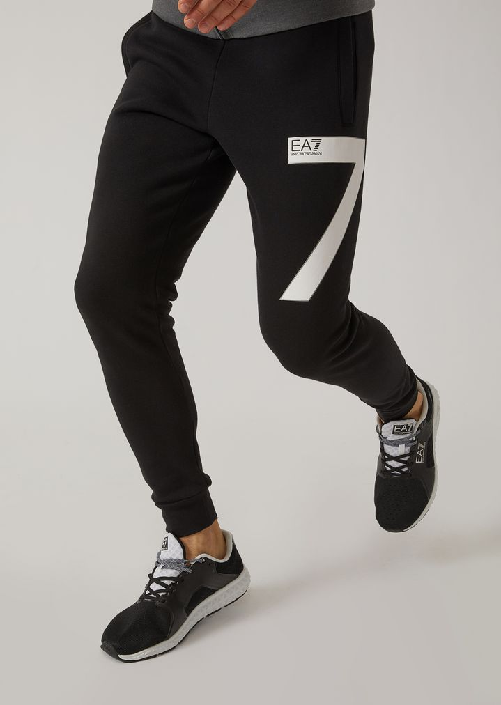 Pantalones deportivos de algodón con logotipo EA7  37b28e108eb3