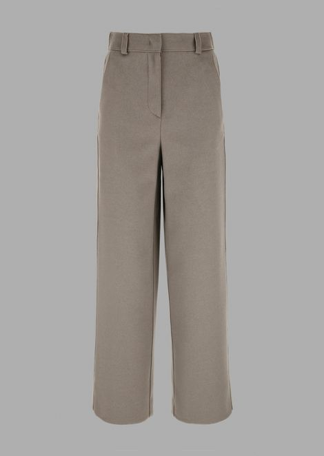 Wool and angora drap cropped trousers