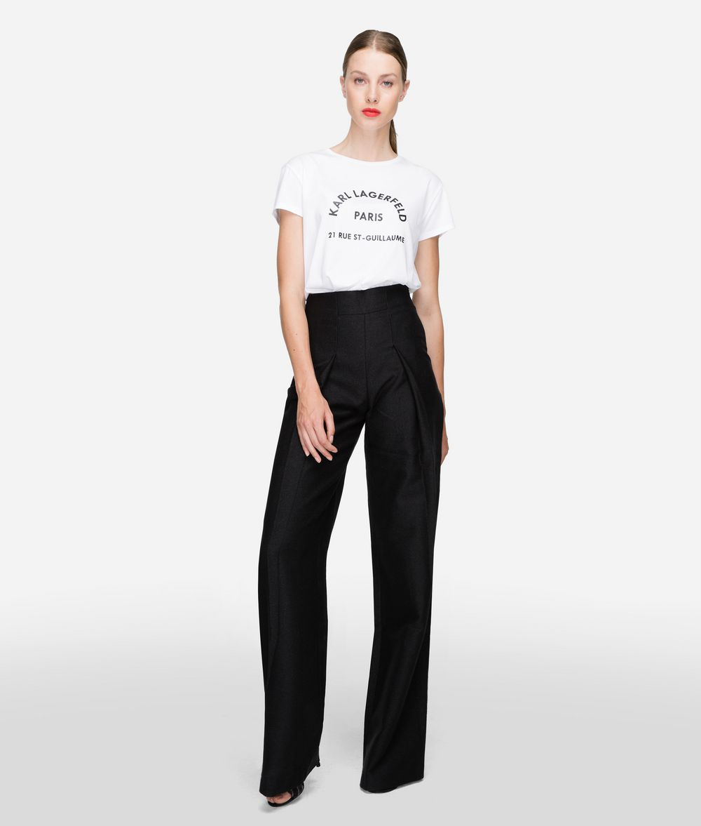KARL LAGERFELD Cotton Twill High-Waisted Pants  Pants Woman f