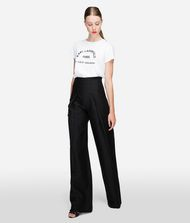 KARL LAGERFELD Cotton Twill High-Waisted Pants  9_f
