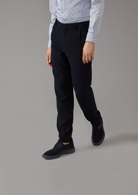 Trousers in washed wool blend ottoman