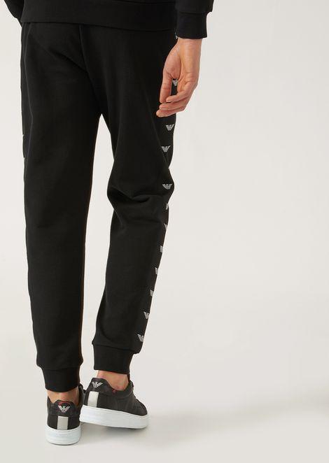 Jogging trousers in fleece with logo side stripes