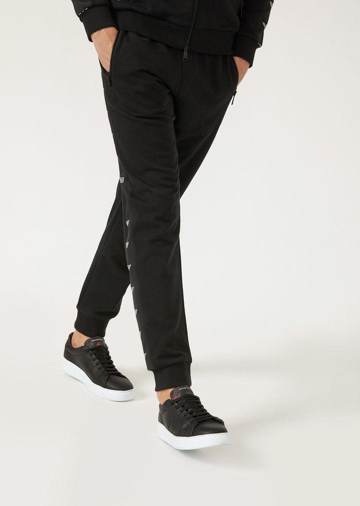 Pantalon de jogging en molleton avec bandes latérales logotypées ... 4e22bc4f3ee