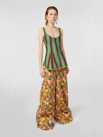 Marni Pantaloni svasati in drill di cotone stampa Ellebore Donna