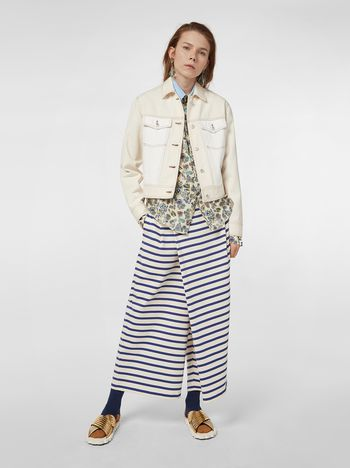 Marni Asymmetric pants in compact striped jersey Woman