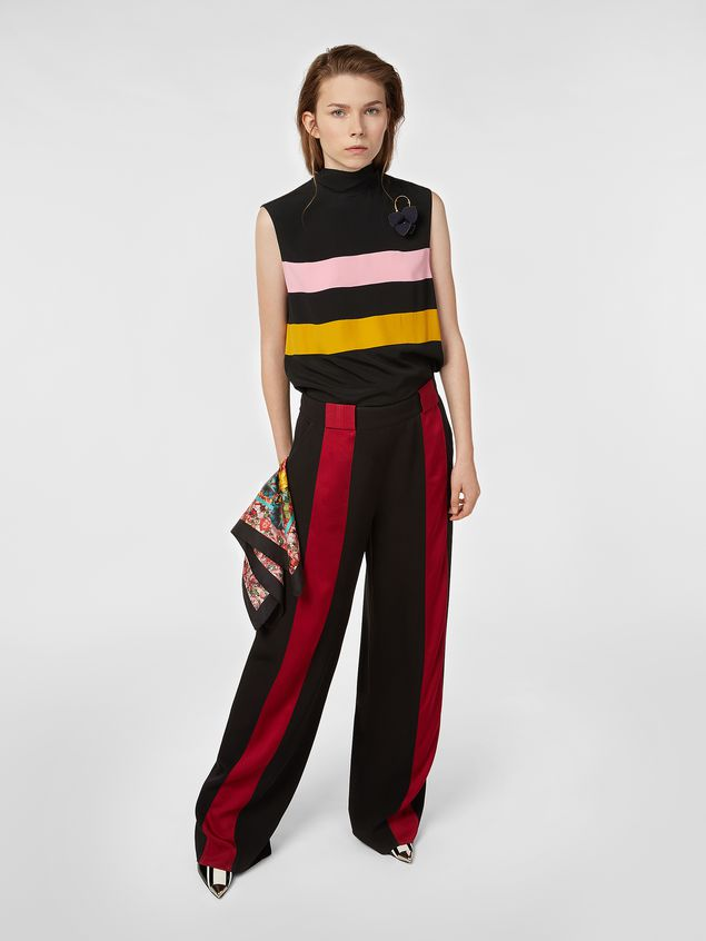 Marni Pants in black and red bicrepe cady  Woman - 1